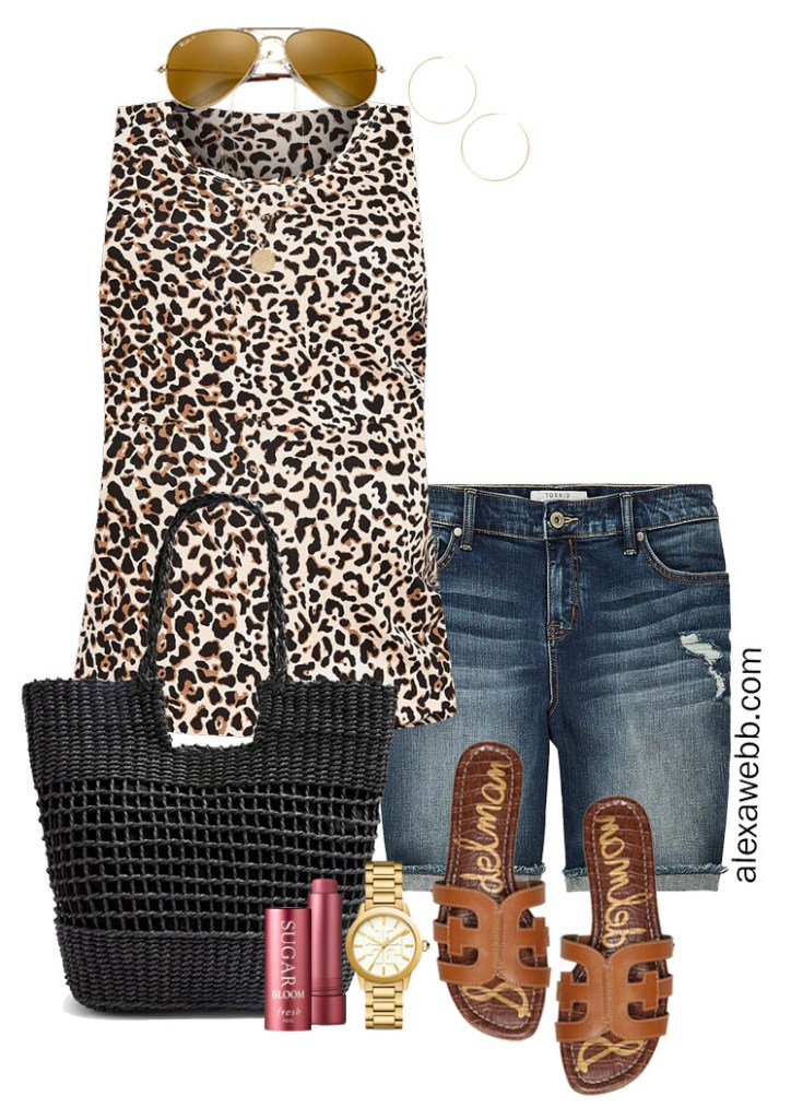 Plus Size Denim Shorts Outfit with Leopard Tank Top, Black Straw Tote Bag, and Sandals - Alexa Webb #Plussize #Alexawebb