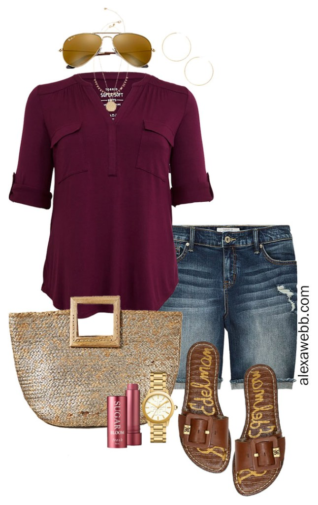 Plus Size Denim Shorts Outfit with Plum Top, Straw Tote Bag, and Sandals - Alexa Webb #Plussize #Alexawebb