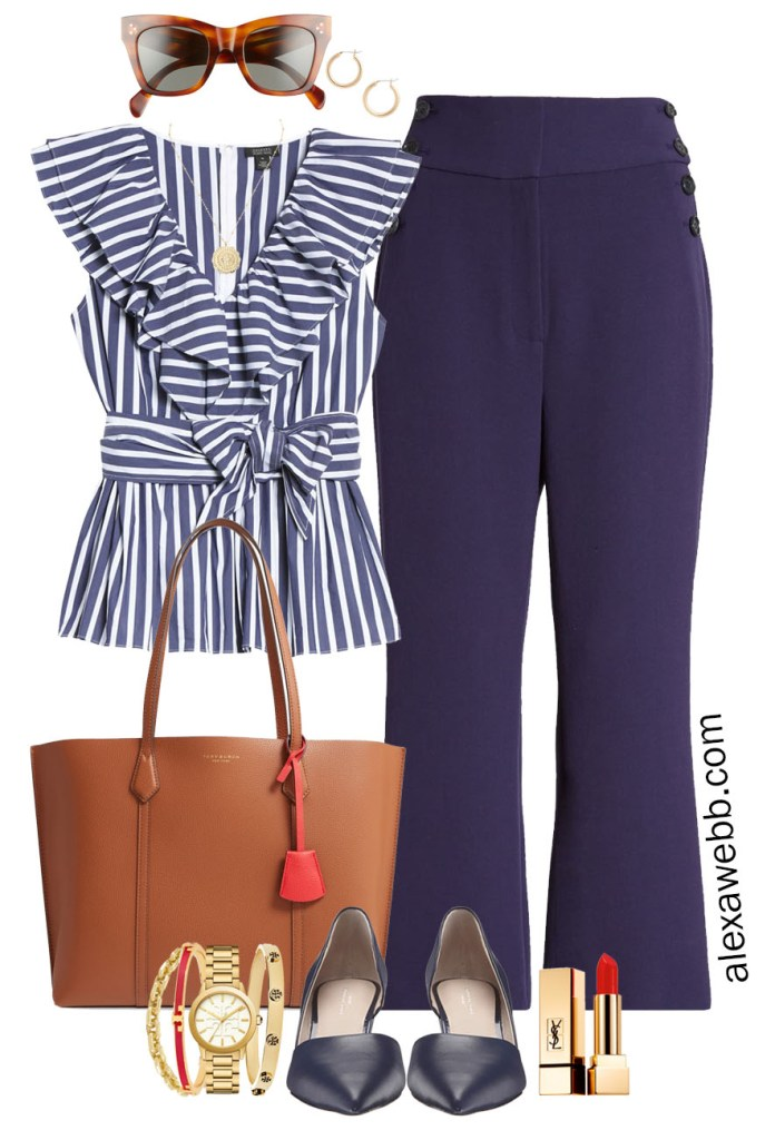 Plus Size Halogen x Atlantic-Pacific Outfit Ideas - Plus Size Work Outfit with a Striped Navy and White Top, Navy Crop Pants, Wedge Heels, and a Leather Tote Bag - Alexa Webb #plussize #alexawebb