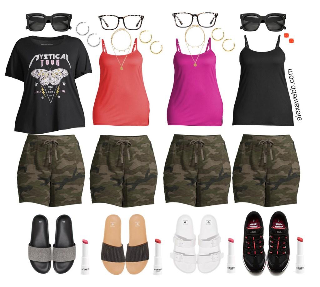 Plus Size Loungewear Capsule with Camo Shorts Outfit Ideas - Alexa Webb #plussize #alexawebb