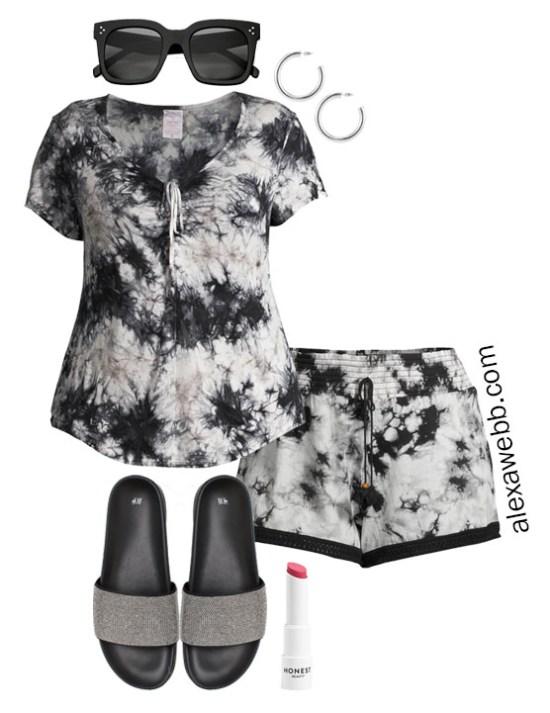 Plus Size Loungewear Capsule with Tie-Dye Shorts Outfit Ideas - Alexa Webb #plussize #alexawebb