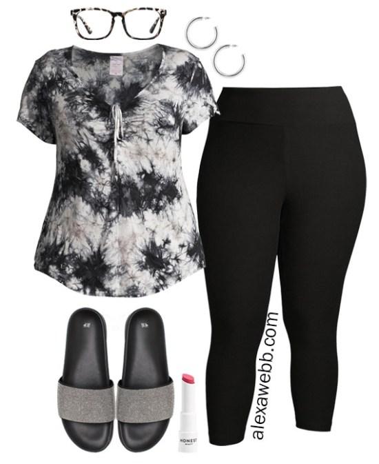 Plus Size Loungewear Capsule with Tie-Dye Top and Leggings Outfit Ideas - Alexa Webb #plussize #alexawebb
