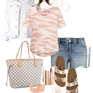 Plus Size Rose Gold Camo Outfit with Blush Camo Tee, Cut-Off Denim Shorts, and Birkenstocks - Alexa Webb #alexawebb #plussize