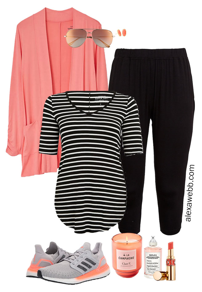 Plus Size Loungewear Capsule - Summer At Home Outfits with Coral and Black - Alexa Webb #alexawebb #plussize