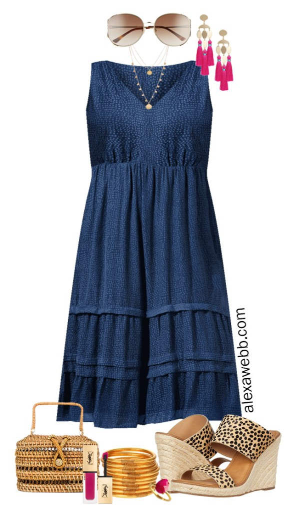 Plus Size Midi Dress Outfit Ideas with Summer Dresses Styled with Cheetah Sandals, Statement Earrings, and Rattan Clutch - Alexa Webb #plussize #alexawebb