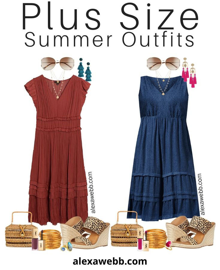 Plus Size Midi Dress Outfit Ideas with Summer Dresses Styled with Cheetah Sandals and Rattan Clutch - Alexa Webb #plussize #alexawebb