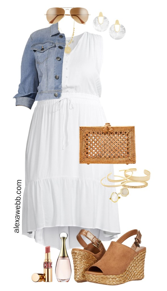 Plus Size White Summer Dress Outfit with Cropped Denim Jacket and Espadrille Sandals - Alexa Webb #plussize #alexawebb