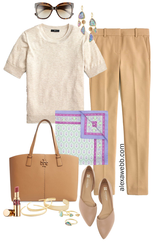 Plus Size Beige Work Outfit with Tonal Colors and Pops of Lavender - Alexa Webb #plussize #alexawebb