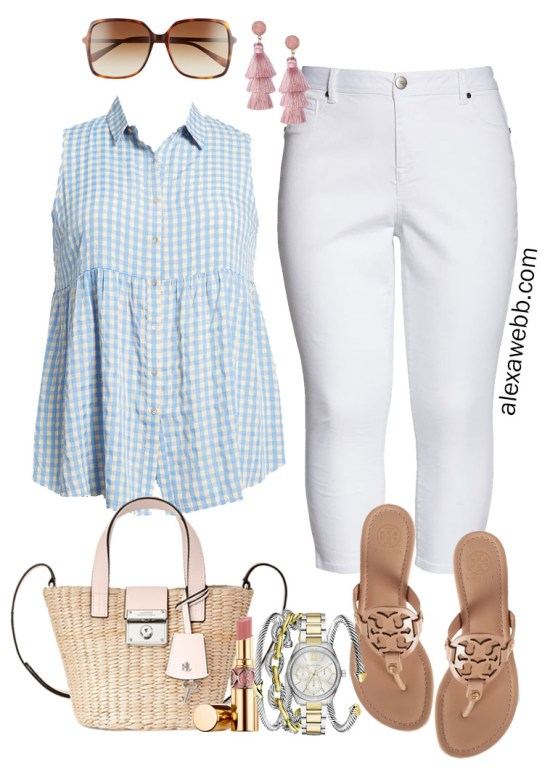 Plus Size Blue Gingham Top Summer Outfit with White Cropped Jeans, Tory Burch Sandals, and Straw Tote - Alexa Webb #plussize #alexawebb