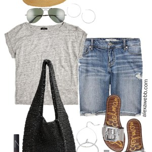 Plus Size Grey Linen Tee Outfit with Distressed Denim Bermuda Shorts, Black Straw Bag, Silver Sandals, and Fedora - Alexa Webb #plussize #alexawebb