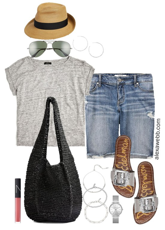 Plus Size Gray Linen Tee Outfit with Distressed Denim Bermuda Shorts, Black Straw Bag, Silver Sandals, and Fedora - Alexa Webb #plussize #alexawebb