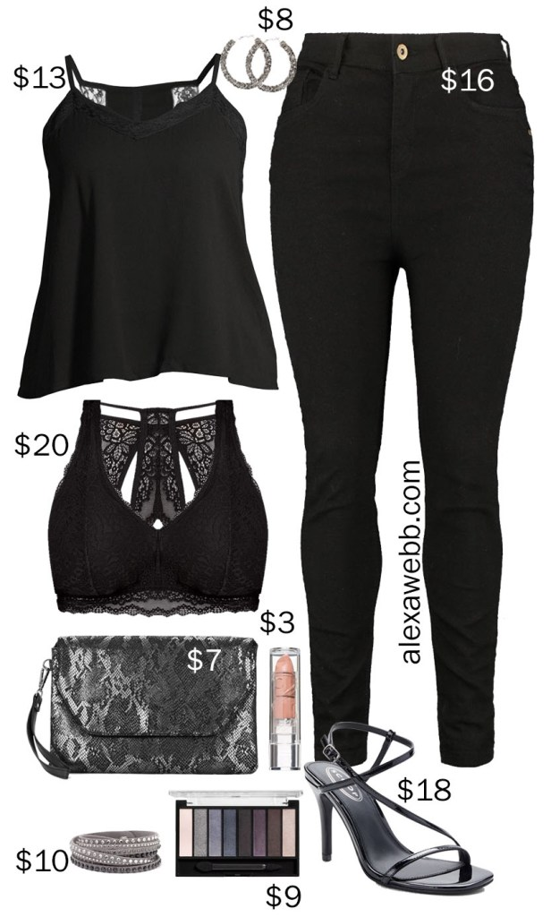 Plus Size on a Budget – Black Date Night Outfit with Black Jeans, Black Camisole, and Bralette, Snake Metallic Clutch, and Smoky Eye - Alexa Webb #plussize #alexawebb