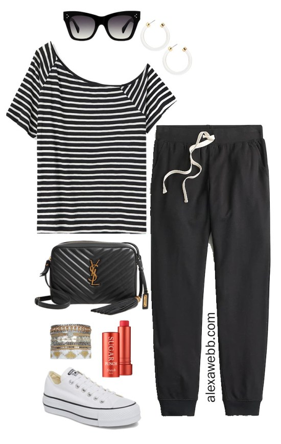 Plus Size Striped Tee Athleisure Outfit with Off-the-Shoulder t-shirt, joggers, crossbody bag, and platform Converse sneakers - Alexa Webb #plussize #alexawebb