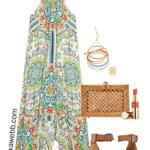 Plus Size Summer Halter Dress with Rattan Clutch and Espadrille Wedges - Alexa Webb #plussize #alexawebb