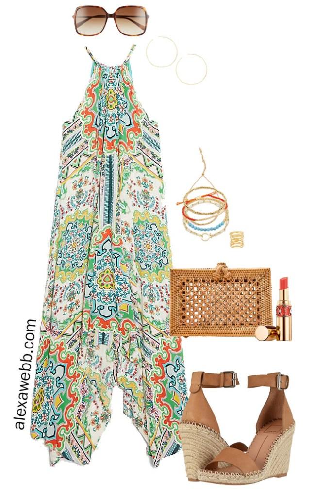 Plus Size Summer Halter Dress with Rattan Clutch and Espadrille Wedges - Alexa Webb #plussize #alexawebb