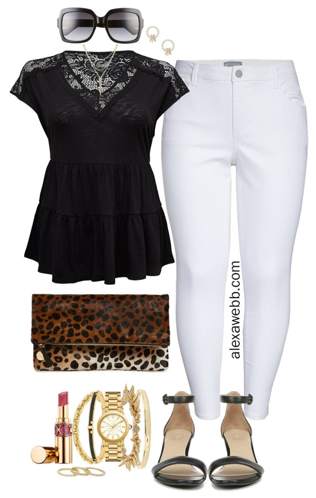 Plus Size Summer Nights Outfit with White Jeans, Black Lace Baby Doll Top, Leopard Clutch, and Black Heeled Sandals - Alexa Webb #plussize #alexawebb