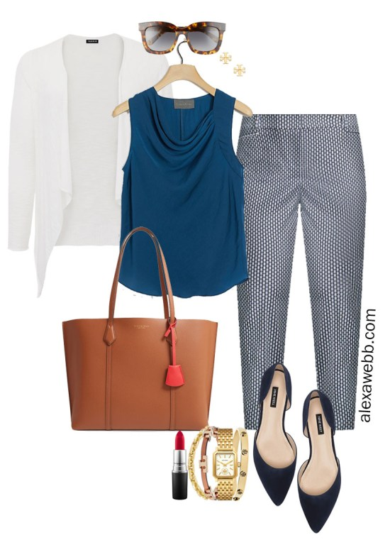 Plus Size Summer into Fall Work Outfit with Teal Top, Navy Printed Pants, and White Cardigan - Alexa Webb #plussize #alexawebb