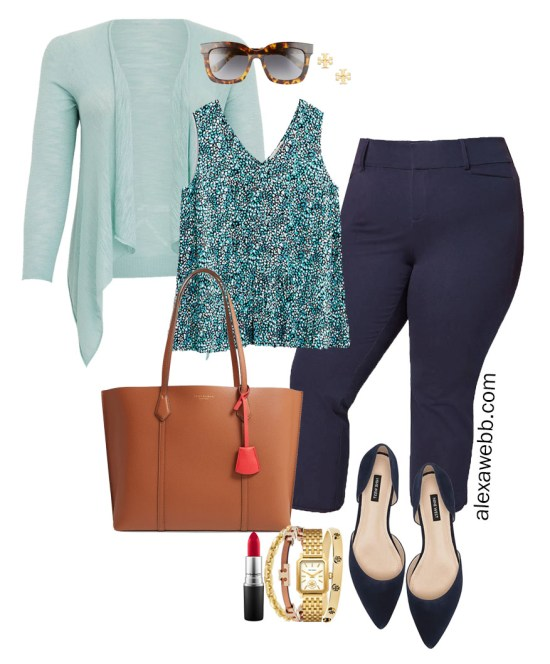 Plus Size Summer into Fall Work Outfit with Printed Top, Navy Cropped Pants, Navy Flats, and Aqua Cardigan - Alexa Webb #plussize #alexawebb