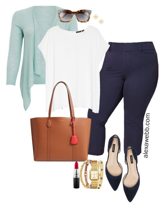 Plus Size Summer into Fall Work Outfit with White Cap Sleeve Blouse, Navy Cropped Pants, Navy Flats, and Aqua Cardigan - Alexa Webb #plussize #alexawebb