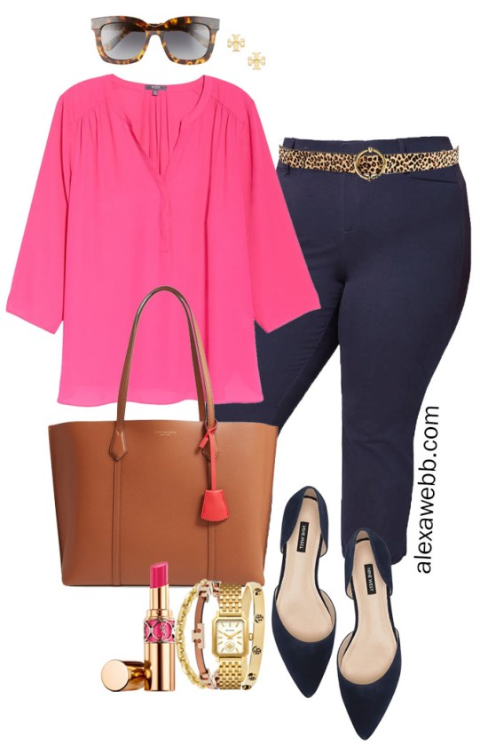 Plus Size Summer into Fall Work Outfit with Hot Pink Blouse, Navy Cropped Pants, Navy Flats, Leopard Belt, and Tan Tote Bag - Alexa Webb #plussize #alexawebb