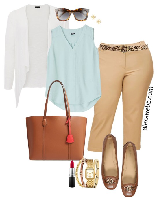 Plus Size Summer into Fall Work Outfit with Aqua Mint Blue Top, Tan Pants, Leopard Belt, and White Cardigan - Alexa Webb #plussize #alexawebb