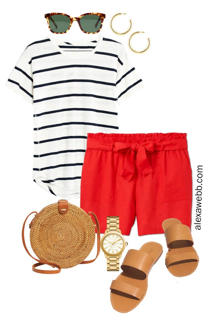Plus Size Red Linen Shorts with Navy and White Stripe Tee, Crossbody Rattan Bag, and Flat Sandals - Alexa Webb #plussize #alexawebb