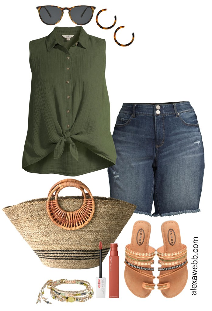 Plus Size Summer Casual Outfit with Walmart - An olive green sleeveless shirt with denim shorts, a straw bag, and embellished sandals - Alexa Webb #plussize #alexawebb