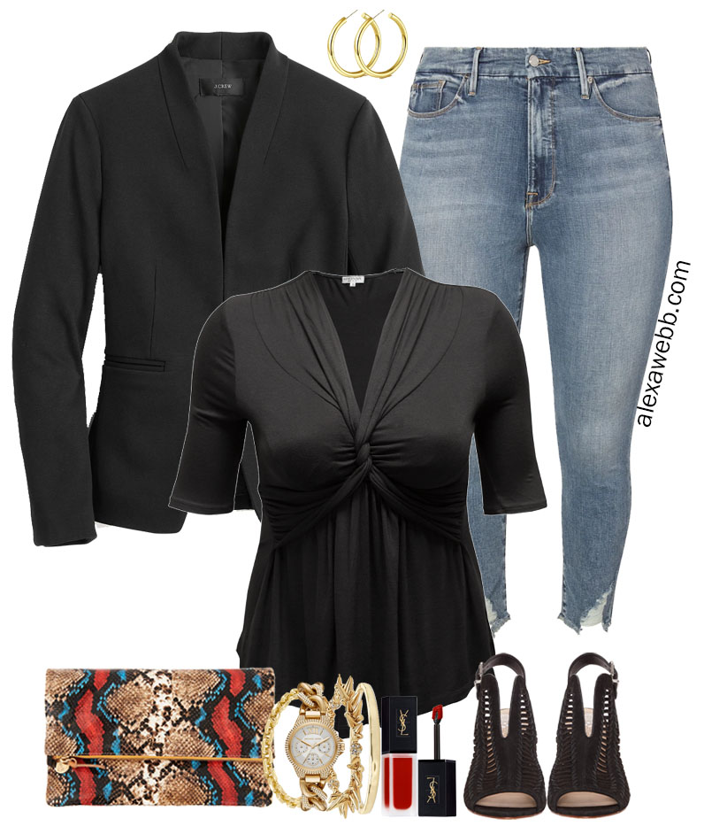 Plus Size Black Top Outfits - Night Look with Jeans, Peep Toe Ankle Bootie Sandals, Snake Clutch, and Black Blazer - Alexa Webb #Plussize #Alexawebb