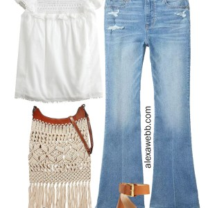 Plus Size Boho Jeans Outfit with Flare Jeans, Ruffle Sleeve Top, Macrame Bag, and Platform Espadrille Sandals - Alexa Webb #plussize #alexawebb