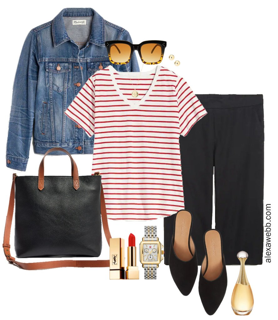 Plus Size Culottes Outfit with Striped Tee, Denim Jacket, and Mules - Alexa Webb #plussize #alexawebb