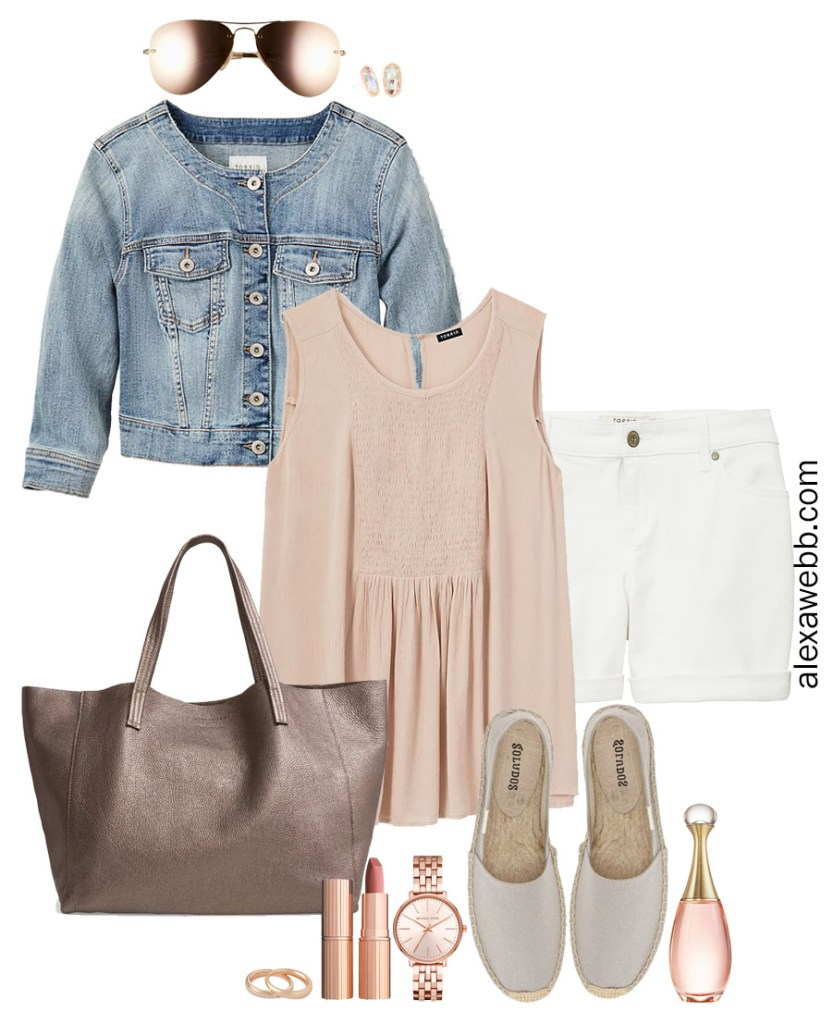 Plus Size Muted Pastel Outfit Ideas with plus size white jean shorts, a denim jacket, babydoll tank, espadrilles, and rose gold jewelry - Alexa Webb #plussize #alexawebb