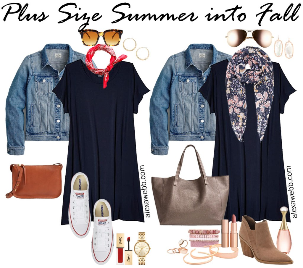 Plus Size Navy T-Shirt Dress Outfit Ideas for Summer into Fall - Transition Outfit Ideas - Alexa Webb #plussize #alexawebb