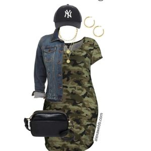 Plus Size on a Budget - Camo Dress Outfit with platform sneakers, denim jacket, baseball cap, and crossbody camera bag - Alexa Webb #plussize #alexawebb