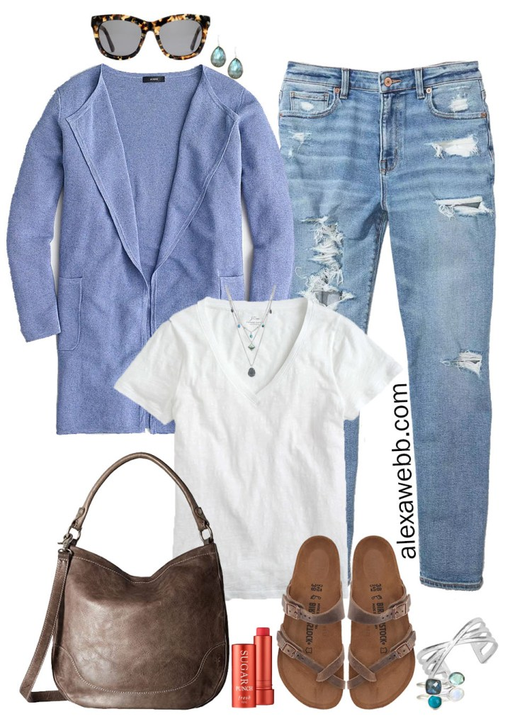 Plus Size Summer to Fall Cardigan Outfit Ideas with sweater blazer, distressed Mom jeans, a white t-shirt, Birkenstock sandals, and stone jewelry - Alexa Webb #plussize #alexawebb