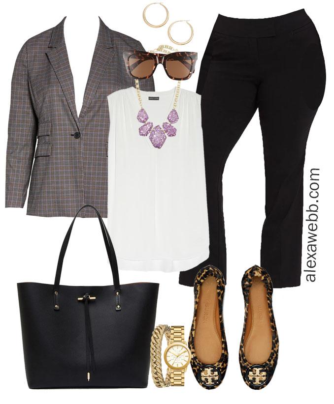 Plus Size Fall Work Capsule Wardrobe - Plus Size Workwear for Fall with Plaid Jacket - Alexa Webb #plussize #alexawebb
