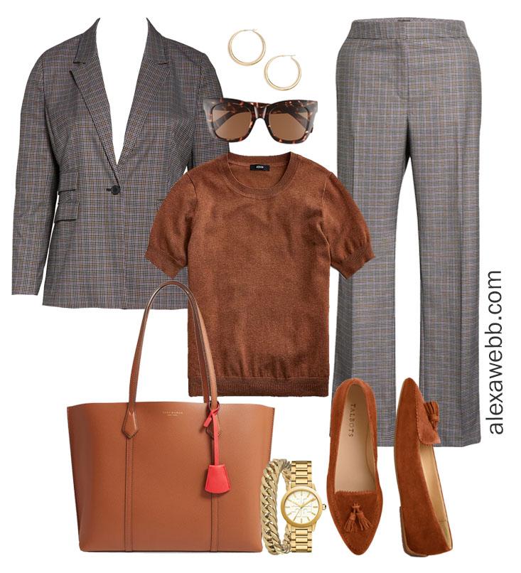 Plus Size Fall Work Capsule Wardrobe - Plus Size Workwear for Fall with Plaid Suit - Alexa Webb #plussize #alexawebb