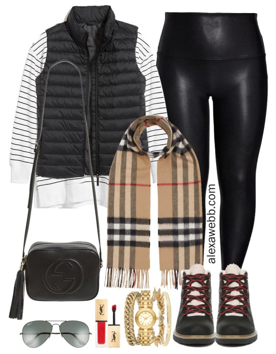 Plus Size Black Faux Leather Leggings Outfit with black puffer vest, Burberry scarf, and hiking boots - Alexa Webb #plussize #alexawebb