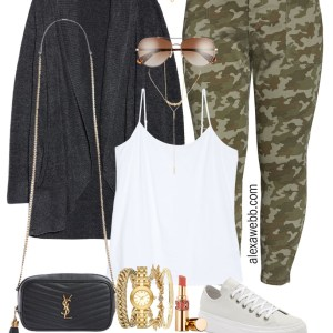 Plus Size Camo Pants Fall Outfit Ideas - Barefoot Dreams Cardi and White Cami, plus platform sneakers, and a crossbody bag - Alexa Webb #plussize #alexawebb