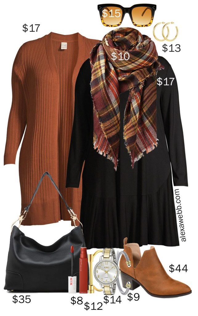 Plus Size on a Budget - Rust Cardigan for Fall with Black T-Shirt Dress, Blanket Scarf, and Ankle Booties - Alexa Webb #plussize #alexawebb