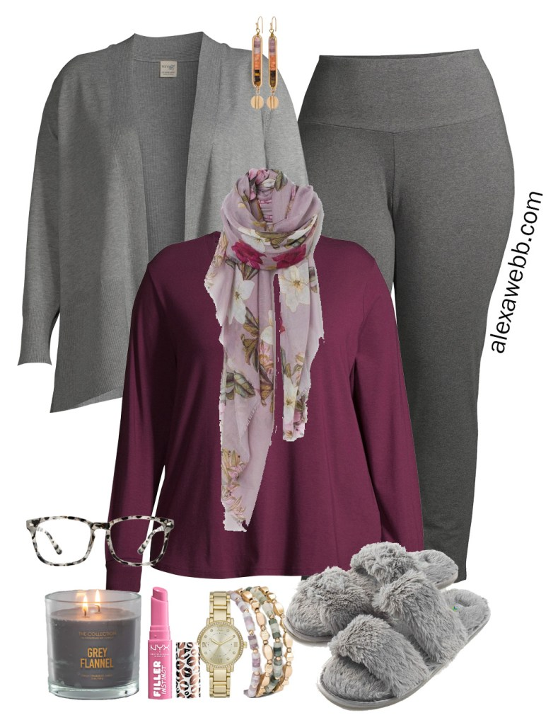 Plus Size Work-from-Home Outfit with Zoom appropriate scarf. t-shirt, and cardigan. Plus, leggings and slippers on the bottom. Alexa Webb #plussize #alexawebb
