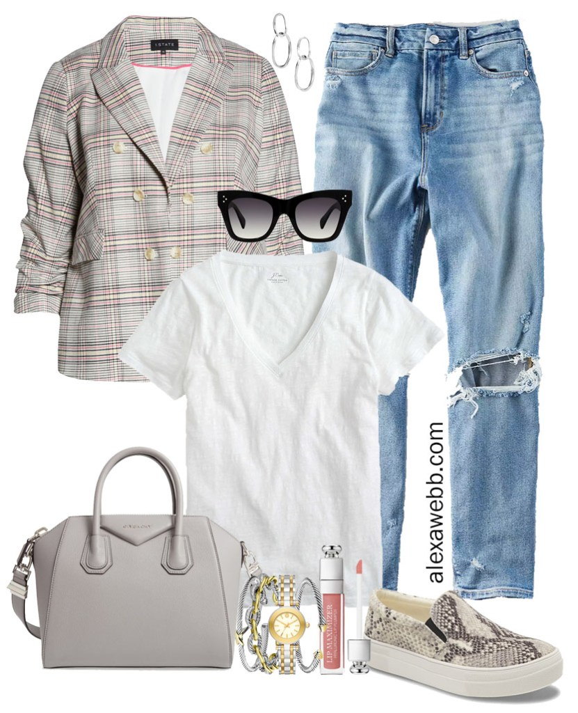 Plus Size Plaid Blazer Outfit Ideas with Mom Jeans and White T-Shirt, Snake Slip-on Sneakers and Givenchy Bag - Alexa Webb #plussize #alexawebb