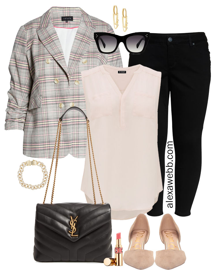 Plus Size Plaid Blazer Outfit Ideas with Black Skinny Jeans, Blush Pink Blouse, Nude Suede Pumps, and YSL Bag - Alexa Webb #plussize #alexawebb
