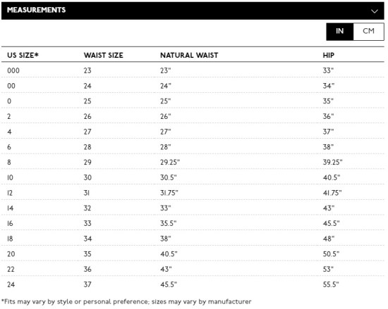 Madewell Jeans Size Chart - Alexa Webb