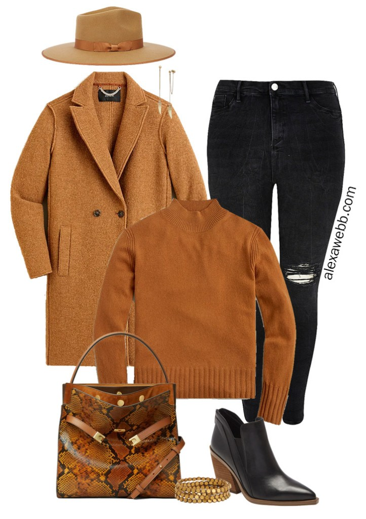 Plus Size Black Jeans Fall Outfit - Rancher Hat with Rust Sweater and Ankle Booties - Alexa Webb #plussize #alexawebb