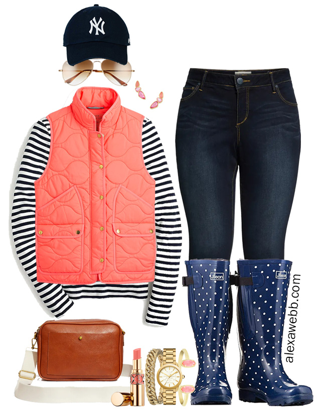 Plus Size Coral Vest Fall Outfit Ideas with Stripe Navy Tee, Skinny Jeans, and Wide Calf Rain Boots - Alexa Webb #Plussize #Alexawebb