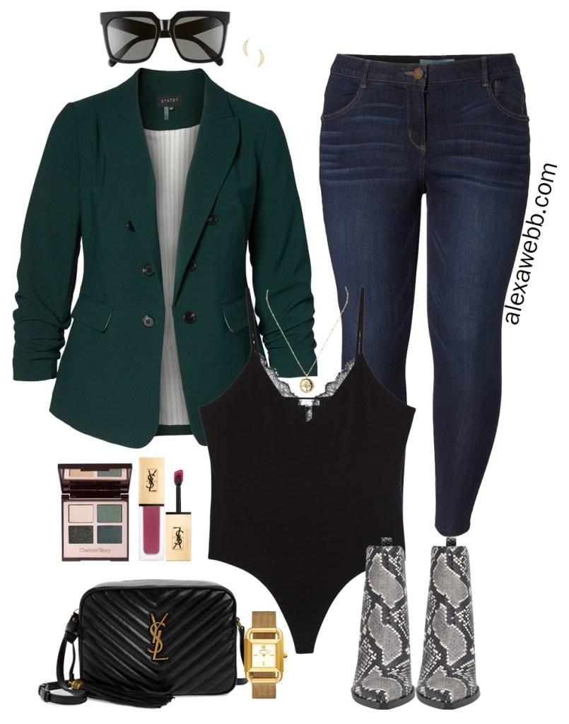 Plus Size Green Blazer Outfit with black bodysuit, skinny jeans, and snake booties - Alexa Webb #plussize #alexawebb