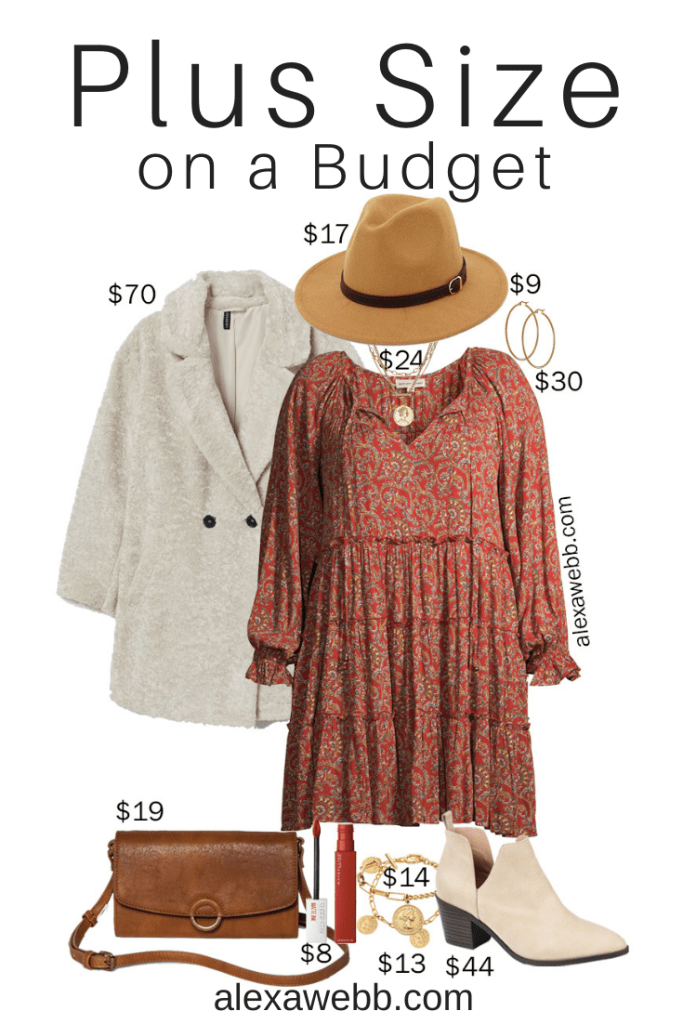 Plus Size on a Budget - Boho Dress with Ankle Booties, a Teddy Bear Coat, a Hat, and a Crossbody Bag - Alexa Webb #plussize #alexawebb