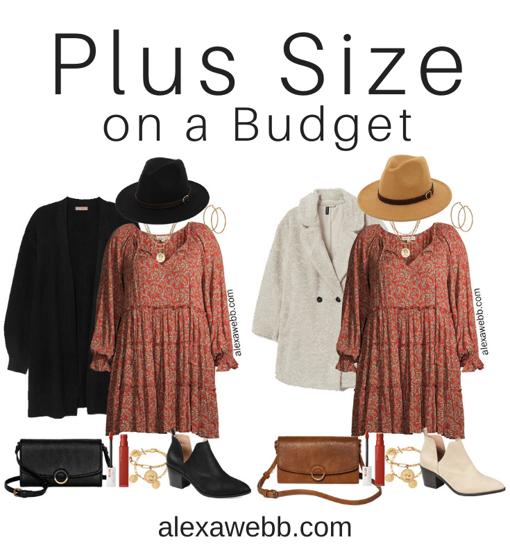 Plus Size on a Budget - Boho Dress with Ankle Booties, a Cardigan, a Hat, and a Crossbody Bag - Alexa Webb #plussize #alexawebb