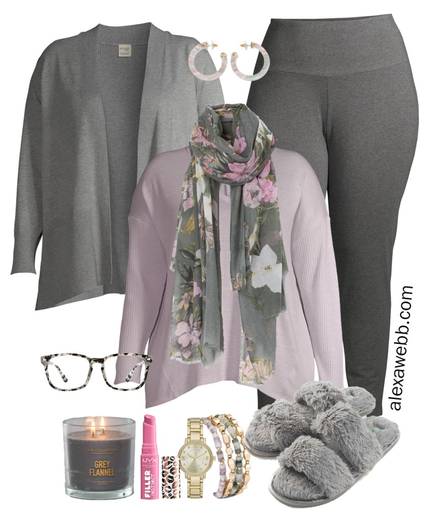 Plus Size Work-from-Home Outfit with Zoom appropriate scarf, lavender top, and grey cardigan. Plus, leggings and slippers on the bottom. Alexa Webb #plussize #alexawebb