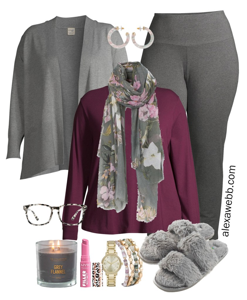 Plus Size Work-from-Home Outfit with Zoom appropriate scarf, wine t-shirt, and grey cardigan. Plus, leggings and slippers on the bottom. Alexa Webb #plussize #alexawebb